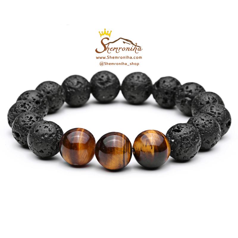 نمونه دستبند ساخته شده از ترکیب سنگ چشم ببر و سنگ آتشفشانی لاوا از محصولات گالری شمرون