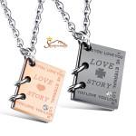 گردنبند زوج دخترانه پسرانه استیل با آویز طرح کتاب Love Story (1)