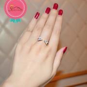 انگشتر زنانه مدرن نگین کریستال چک روکش رادیوم سیلور (۲)