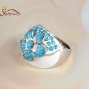 حلقه مدرن زنانه طرح گل کریستال های رنگی چک روکش پلاتین سیلور (۱)