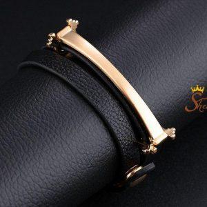دستبند چرم دخترانه ترکیب با استیل با قفل دکمه ای۶