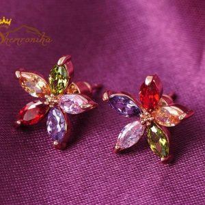 نیم ست زنانه طرح ستاره کریستال رنگی اتریش گلد (۵)