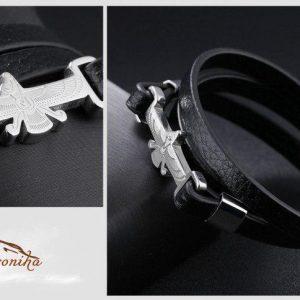 دستبند ترکیب چرم و استیل با پلاک طرح فروهر گلد و سیلور۴