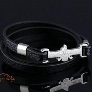 دستبند ترکیب چرم و استیل با پلاک طرح فروهر گلد و سیلور۶