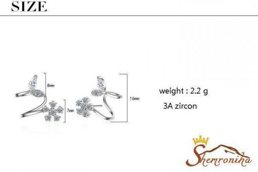 گوشواره ترکیبی کلیپسی-میخی گل و برگ