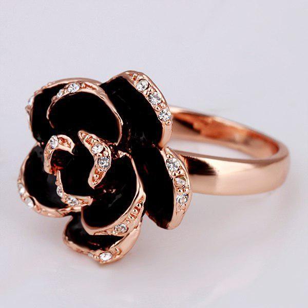 انگشتر گل رز مشکی رزگلد