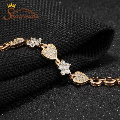 دستبند سه قلب و گل