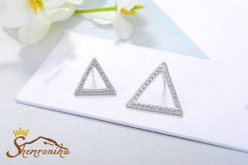 گوشواره نا متقارن آویزی مثلث کوچک و بزرگ