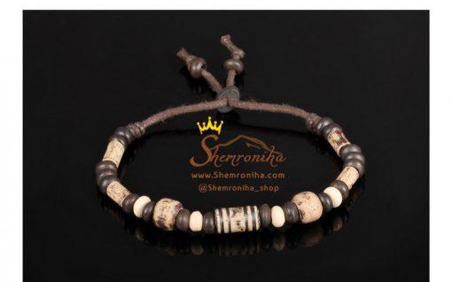 دستبند ترکیبی مهره رسی و چوب