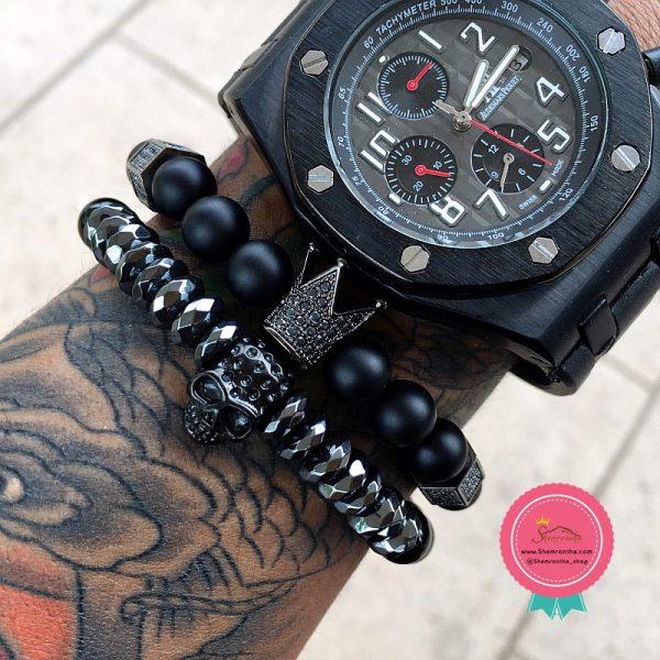 دستبند سنگ مردانه تاج مشکی