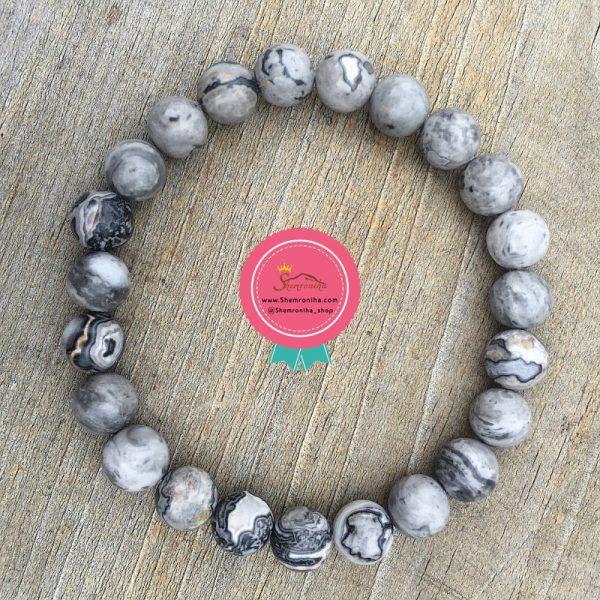 دستبند مردانه دانه خاکستری