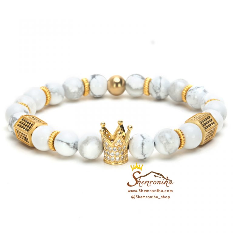 دستبند مردانه دانه سفید و تاج