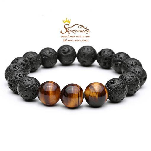 دستبند مردانه دانه قهوه ای و مشکی