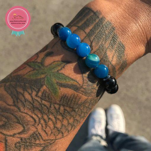 دستبند مردانه دانه مشکی و آبی