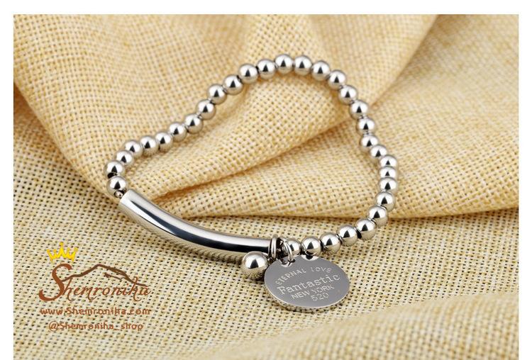 دستبند مهره ای استیل آویز New York 520