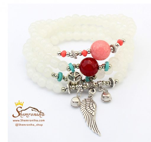 دستبند مهره ای سه رشته آویز بال