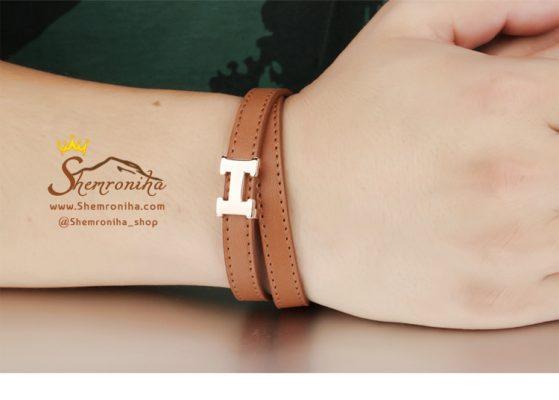 دستبند چرم قهوه ایHermes