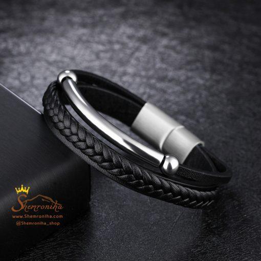دستبند چند لایه پلاک سیلور