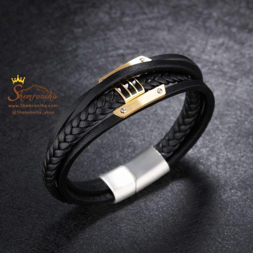 دستبند چند لایه پلاک گلد