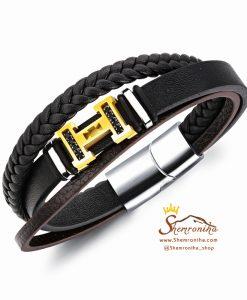 دستبند چند لایه پلاک H گلد