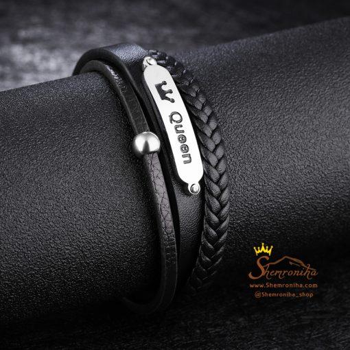 دستبند چند لایه پلاک queen