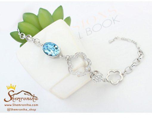 دستبند گل با نگین آبی