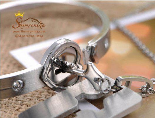 ست استیل مردانه زنانه – دستبند و گردنبند با آویز کلید