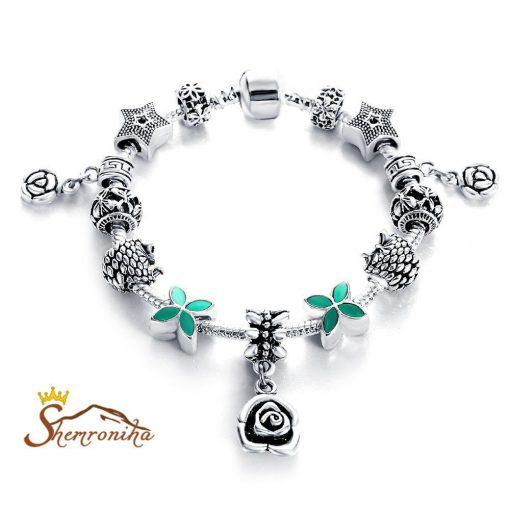 دستبند زنانه پاندورا کریستالی سبز آویز گل