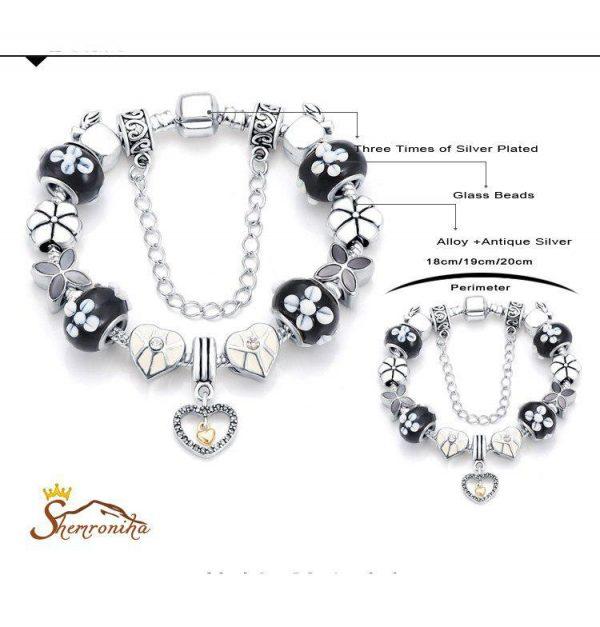 دستبند زنانه پاندورا کریستالی مشکی آویز قلب