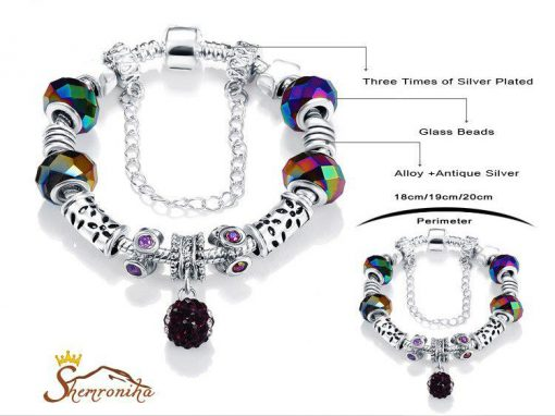 دستبند پاندورا کریستالی رنگی