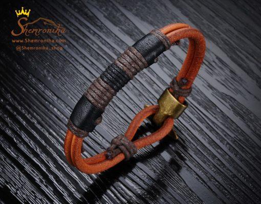 دستبند چرم قهوه ای پلاک طوسی قفل لنگری