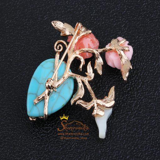 سنجاق سینه گل و قلب آبی