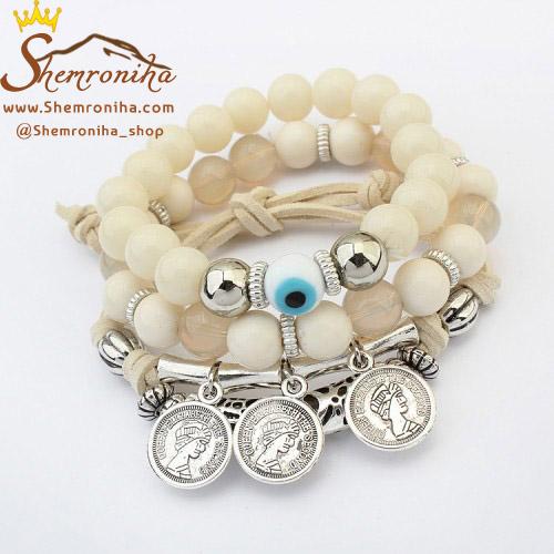 پک دستبند مهره ای ۳تکه یونانی