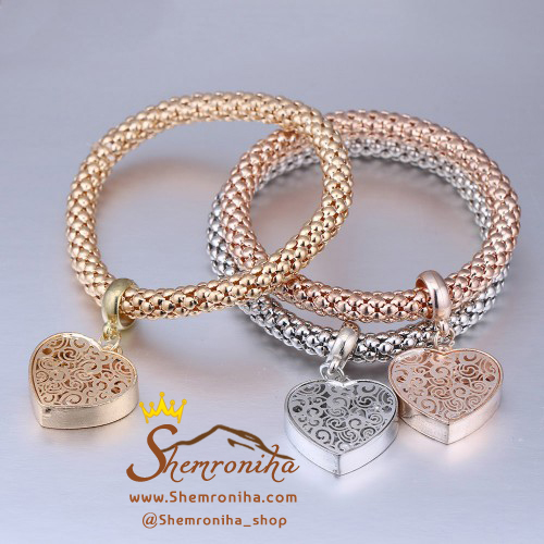 پک دستبند ۳رشته با آویز قلب