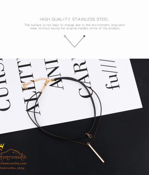 گردنبند چوکر دورشته با آویز ستاره مشکی