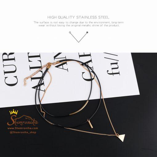 گردنبند چوکر سه رشته با آویز مثلث