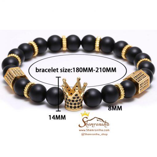 دستبند دانه ای مردانه / زنانه سنگ و تاج