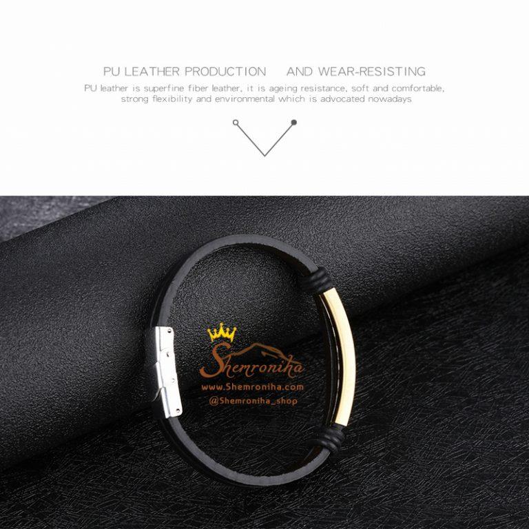 دستبند چرم مردانه/زنانه پلاک استیل گلد
