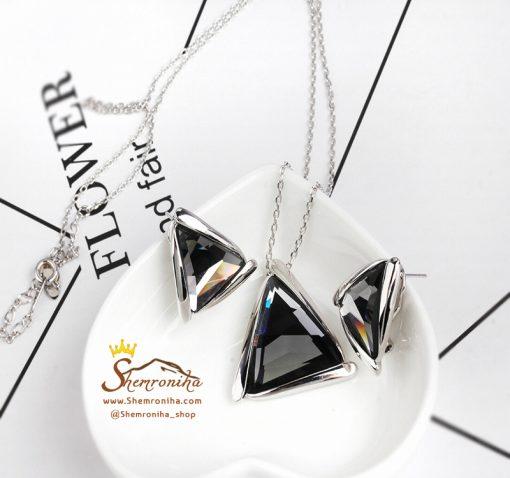 نیم ست کریستال های مثلثی مشکی