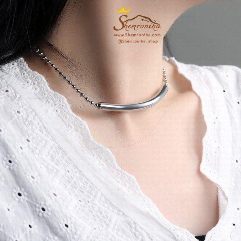 گردنبند چوکر استیل سیلور