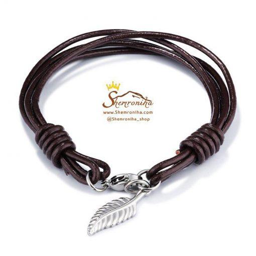 دستبند چرم مردانه زنانه چند رشته با آویز پر