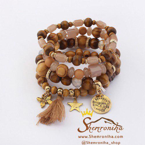 پک دستبند مهره ۴تکه آویز پروانه ستاره و ریش