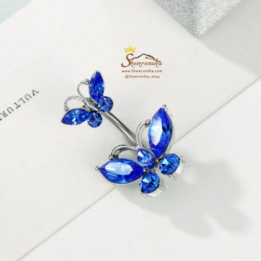 پیرسینگ ناف پروانه کوچک و بزرگ کریستالی