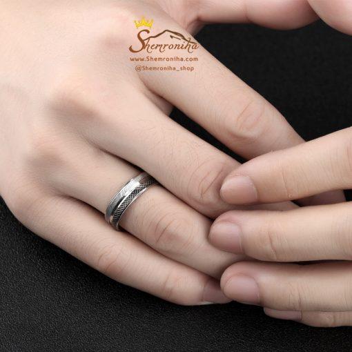 انگشتر مردانه دو لاین سیلور مشکی