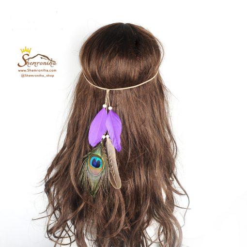 تزیینات مو سرخپوستی پر طاووس و پر بنفش