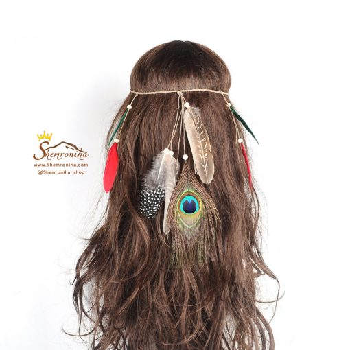 تزیینات مو سرخپوستی پر طاووس و پر