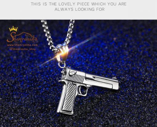 گردنبند اسلحه کلت مشکی