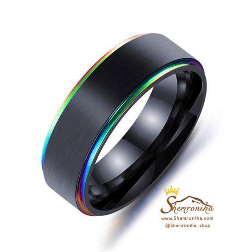 انگشتر حلقه مردانه لبه آبی