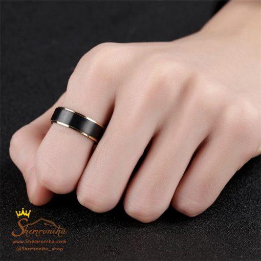 انگشتر حلقه مردانه لبه طلایی