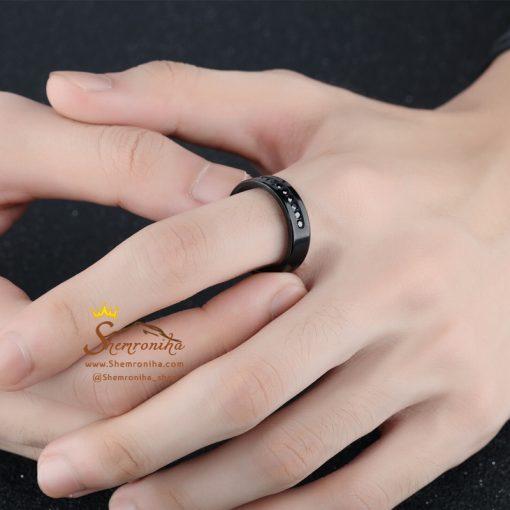 انگشتر حلقه مردانه مشکی وسط نقطه